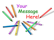 Crayon Message. Background with Crayons and Room for Text Stock Photography