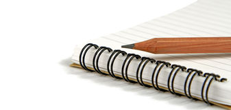 Crayon on notebook royalty free stock images