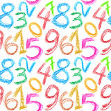 Crayon numbers seamless Stock Photo