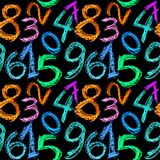 Crayon numbers seamless Royalty Free Stock Photos