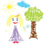 Crayon pained girl with flower Royalty Free Stock Photo