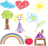Crayon pained girl icon Stock Photo