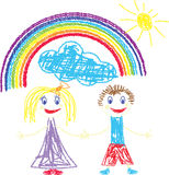Crayon pained kids and rainbow Stock Images