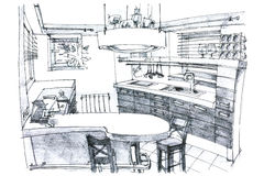 Crayon painting illustration of a kitchen Royalty Free Stock Photography