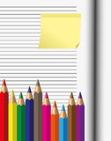 Crayon on paper. The crayon on paper and memo sheet Royalty Free Stock Image