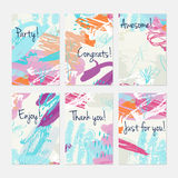 Crayon and pastel textured scribbles dots and circles. Hand drawn creative invitation or greeting cards template. Anniversary, Birthday, wedding, party, social Stock Photography