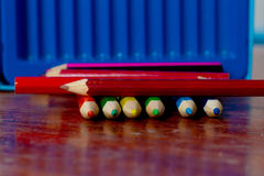 Crayon:a pencil or stick of colored chalk or wax, used for drawi Stock Images