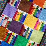 Crayon Quilt. Close up of a quilt panel with Crayon artwork. Very colorful Stock Photo
