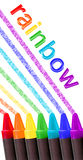 Crayon rainbow over white stock illustration