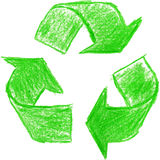 Crayon recycle symbol. Recycle symbol made with green crayon Royalty Free Stock Image