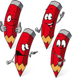 Crayon rouge - bande dessinée drôle de vecteur Images stock