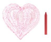 Crayon rouge et coeur tiré Photographie stock libre de droits
