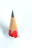 Crayon rouge et papier déchiré blanc photo stock