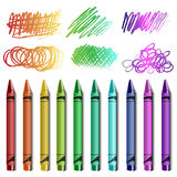 Crayon set with sketches Royalty Free Stock Photo