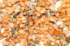 Crayon shavings on white background Royalty Free Stock Photo
