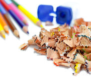 Crayon shavings Stock Photo