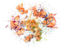 Crayon shavings on white Stock Photo