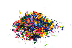 Crayon shavings on white Stock Photography