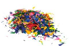 Crayon shavings on white Stock Photos