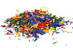 Crayon shavings on white Royalty Free Stock Photo