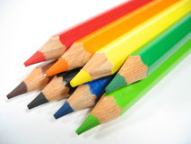 Crayon Stack II. Colored wooden crayons royalty free stock photos