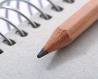Crayon sur le cahier Photos stock