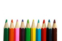 Crayon Tips. A row of childrens coloured led crayon pencils royalty free stock image