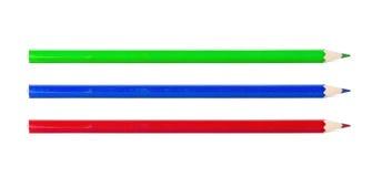 Crayon vert-bleu et rouge d'isolement sur le fond blanc Photos libres de droits