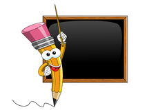 Crayonnez le bâton de bande dessinée de mascotte enseignant le tableau noir vide d'isolement illustration stock