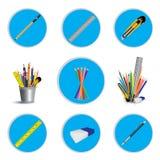 Crayonnez le coupeur et la gomme avec la règle pour l'icône d'isolement sur le fond blanc Conception d'icône d'outil d'objet Photographie stock