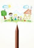 Crayonnez le plan rapproché avec un dessin d'une famille Images libres de droits