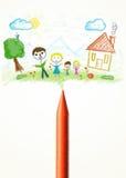 Crayonnez le plan rapproché avec un dessin d'une famille Image libre de droits