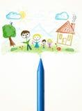 Crayonnez le plan rapproché avec un dessin d'une famille Images stock
