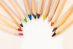 Crayons в полуокружности Стоковая Фотография RF