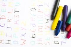 crayons детей вощиют сочинительство Стоковые Изображения