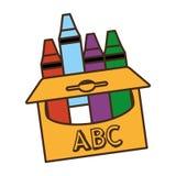 Crayons кладут изолированный значок в коробку Стоковое Изображение RF