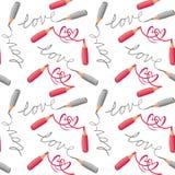 Crayons серого цвета влюбленности и сердец картина красных безшовная Стоковое Изображение RF