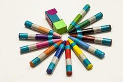 Crayons цвета на белой предпосылке Стоковые Изображения RF