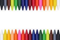 Crayons для детей формируя рамку Стоковые Фотографии RF
