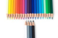 Crayons. Close-up isolated over a white background stock photo