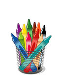 Crayons. Blue, purple, green, yellow, magenta, brown, orange, black, red, turquoise and beige crayons in a desk organizer for home, office, arts, crafts, back Stock Image