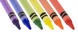Crayons. Primary and secondary colored crayons isolated on white Royalty Free Stock Photo