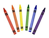 Crayons. Primary and secondary colored crayons isolated on a white background Stock Photos