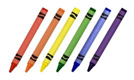 Crayons. Primary and secondary colored crayons isolated on a white background Royalty Free Stock Photos