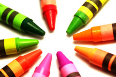 Crayons. On white background Royalty Free Stock Photo