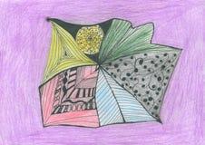 Crayons abstraits de pastel de griffonnage Image libre de droits