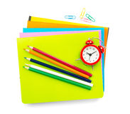 Crayons with alarm clock, top view Stock Images