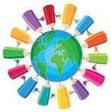 Crayons autour du globe Illustration Libre de Droits
