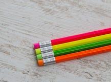 Crayons avec des gommes Photographie stock