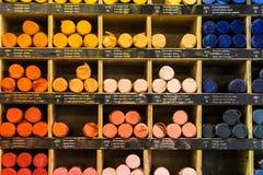 Crayons background Stock Photos